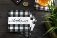 Black and White Buffalo Plaid tumbled marble drink coaster with custom last name (set of four)