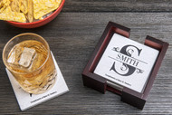 Monogram initial tumbled marble drink coaster (set of four)