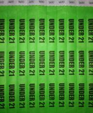 TYVEK WRISTBANDS - UNDER 21