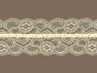 "Ivory Galloon Lace Trim w/ Beige Ribbon - 4"" (IV0400U01)"