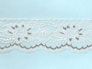 "White & Silver Metallic Edge Lace Trim - 3"" (WS0300E01)"