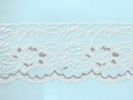 White & Silver Metallic Edge Lace Trim - 4'' (WS0400E01)