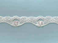 White Scalloped Stretch Lace Trim with Beads and Sequins - 1.5'' (WT0112U05)