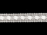 White Insertion Lace Trim with Embroidery - 1.25'' (WT0114U03)