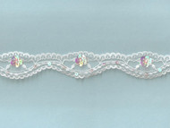 White Scalloped Lace Trim With Beads and Sequins- 1.25'' (WT0114U04)