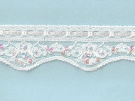 White Edge Lace Trim With Ribbon Sequins and Beads - 1.875'' (WT0178U01)