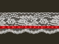"White Edge Lace with Red Ribbon Trim - 3"" (WT0300U02)"