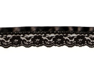 "Black Edge Lace Trim with Black Ribbon and Crochet Stitch - 1.375"" - (BK0138E05)"