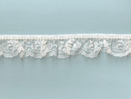 "White Ruffled Lace with Pearl Trim - 1.25"" - (WT0114U05)"