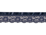 "Navy Blue Edge Lace with Ribbon - 1.5"" - (NB0112U01)"