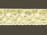 "Yellow Edge Trim Embroidered Tricot- 2.25"" - (YW0214U01)"