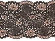 "Black/ Gold Galloon Stretch Lace with Gold Metallic  Embroidery - 6""- (MC0600G01)"