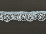 "Light Blue Edge Ruffled Lace - Stiff - 1"" (LB0100U50)"