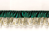 "White Gold/Green Novelty Ruffled Ribbon Lace - 2"" (WGG0200U50)"