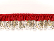 "White Gold/Red Novelty Ruffled Ribbon Lace - 2"" (WGR0200U50)"