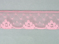"Pink Edge Lace Trim w/ Fine Netting - 1.125"" (PK0118E01)"