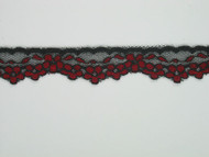 "Black & Red Edge Lace Trim - 0.75"" (MC0034E01)"