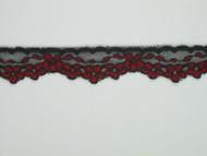 """Black & Red Edge Lace Trim - 0.75"""" (MC0034E01)"""