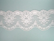 "Lt Peach Scalloped Lace Trim w/ Fancy Edge - 3.625"" (PE0358S01)"