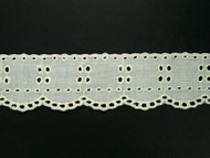 "Ivory Eyelet Trim w/ Finished Edge - 1.5"" (IV0112E01)"