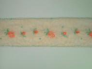 "Beige & Rose Insertion Lace Trim w/ Embroidered Pink & Green Rose - 2.25"" (MC0214U01)"