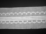 "Off White Embroidered, Pleated Trim - 5.25"" (WT0514E01)"