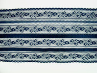 "Midnight Blue Edge Lace Trim w/ 2 rows of satin ribbon - 6"" (MN0600E01)"