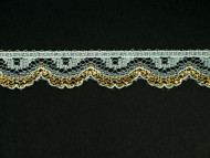 "White & Gold Edge Lace Trim - 0.625"" (392 yards) (WG0058E01W)"