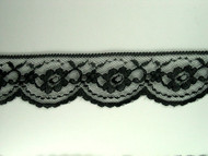 "Black Edge Lace Trim - 2.125"" (139 yards) (BK0218E01W)"