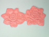 "Pink Double Rose Applique - 4.5"" x 2"" (APM009)"