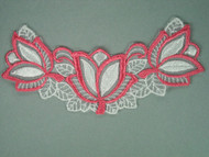 "White & Pink Embroidered Organza Applique - 6"" x 2.75"" (APM014)"