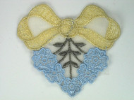"Beige & Light Blue Embroidered Organza Applique - 3.75"" wide x 3.375"" (APM011)"