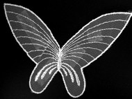 "White Butterfly Netting Applique - 8"" wide x 6"" (APM026)"