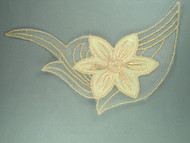 "Ivory Embroidered Satin & Netting Applique - 9.75"" x 5"" (APM020)"