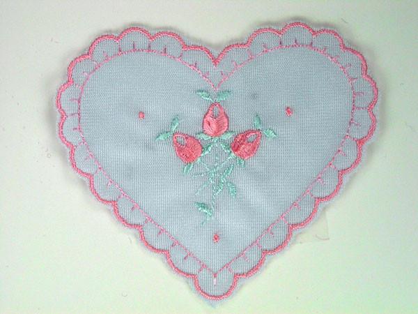 Heart applique beaded patch motif green
