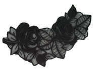 "Black Embroidered Organza Applique - 5"" x 2.75"" (APM017)"