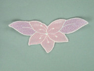 "Pink Embroidered Tricot Applique - 5"" x 2.25"" (APM023)"