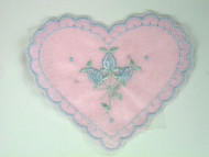 "Pink Embroidered Tricot Heart Applique - 3.75"" x 3.25"" (APM013)"