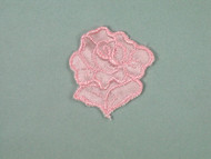 "Pink Embroidered Satin Rose Applique - 1.75"" wide x 2"" tall (APM056)"