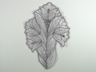 "Silver & Grey Embroidered Satin Applique - 6"" x 4"" (APM081)"