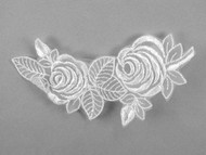 "White Embroidered Organza Applique - 5.5"" x 3"" (APM046)"