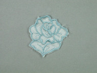 "Light Blue Embroidered Satin Rose Applique - 1.75"" wide x 2"" tall (APM057)"