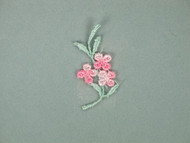 "Pink & Blue Floral Embroidered Applique - 1.5"" x 1"" (APM031)"