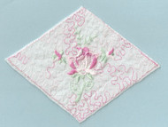 "White Embroidered Tricot Diamond Patch - 6"" Wide x 4.75"" (APP005)"