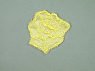 "Yellow Embroidered Satin Rose Applique - 1.75"" wide x 2"" Tall (APM062)"