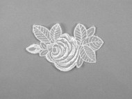 "White Embroidered Organza Applique - 3.75"" x 2.375"" (APM047)"