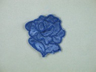 "Blue Embroidered Satin Rose Applique - 1.75"" wide x 2"" Tall (APM058)"