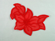 "Red Embroidered Organza Applique - 5.5"" x 4"" (APM068)"