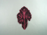 "Black & Light Rose Embroidered Satin Applique - 6.375"" x 4"" (APM079)"