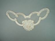 "Ivory Embroidered Satin & Organza Yoke - 7"" wide x 4"" (APY010)"